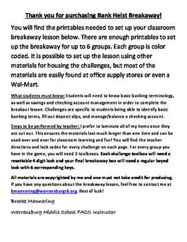 Bank Heist Breakaway ~ An escape the classroom/breakout st