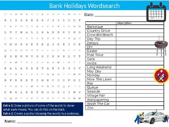 Bank Holidays Wordsearch Puzzle Sheet Keywords Homework Vacation