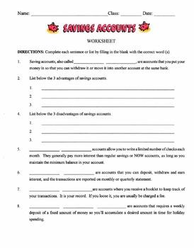 Bank Savings Accounts Lesson