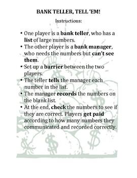 Bank Teller Tell Em By James Davisson Store Teachers Pay Teachers