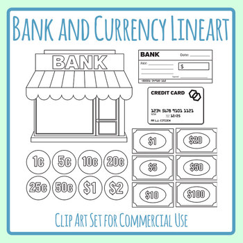 Bank And Currency Black And White Line Art Clip Art Set Commercial