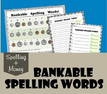 Bankable Spelling Words (Money Worksheets for 1st-4th grade)