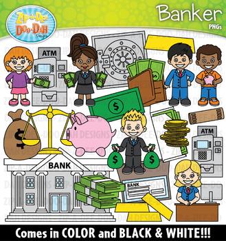 Banker Community Helpers Clipart {Zip-A-Dee-Doo-Dah Designs}