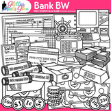 Banking Money Clip Art | Counting, Sorting, Place Value, & Coin Recognition B&W