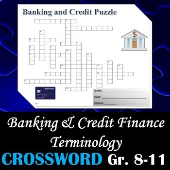 Banking & Credit Finance Terminology - Crossword Puzzle Activity Worksheet