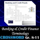 Banking & Credit Finance Terminology - Crossword Puzzle Activity Worksheet