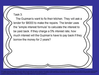 Banking, Mortgages, and Simple Interest Task Cards.