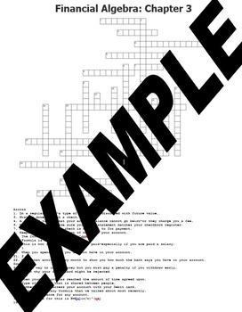 Banking Systems Vocabulary Crossword