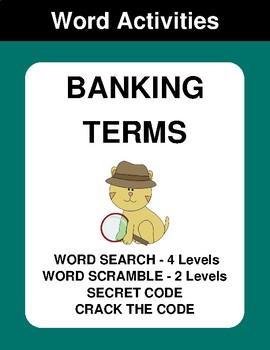 Banking Term - Word Search Puzzles, Word Scramble,  Secret Code,  Crack the Code