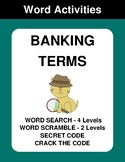 Banking Term - Word Search Puzzles, Word Scramble,  Secret