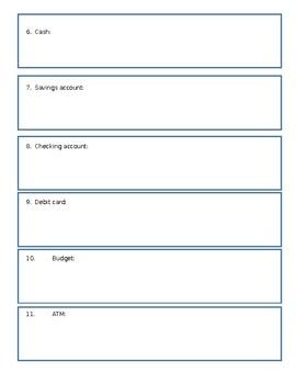 Banking Vocabulary Cut/Paste