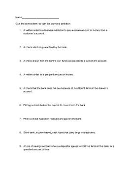 Banking and Stocks Vocabulary Assessment