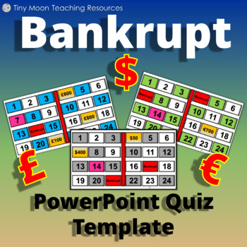 Bankrupt! Game Template in British Pounds £, Dollars $, and Euros €