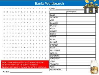 Banks Wordsearch Sheet Starter Activity Keywords Banking Finance Business