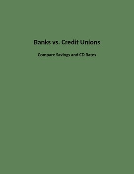 Banks vs Credit Unions Rate Search on Savings Accounts and CDs