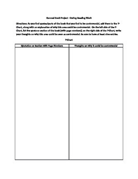 Banned Book Graphic Organizer and Assignment