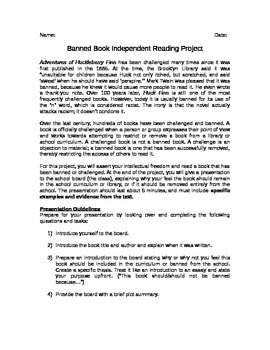 Banned Book Independent Reading Project
