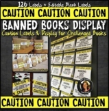 Banned Books Caution Labels & Bulletin Board