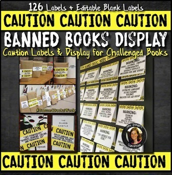 Banned Books Caution Labels, Bulletin Board, Presentation Distance Learning