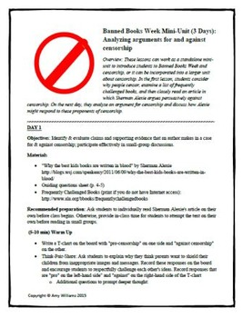 Banned Books Week Bundle (3 Days): Analyzing arguments for & against censorship