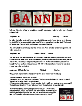 Banned Books Week Reading Journals & Permission Slip