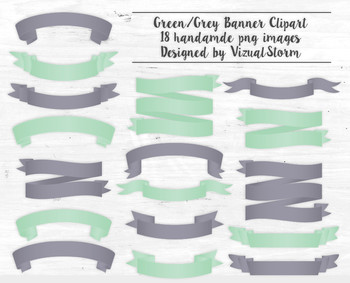 Banner Clip Art, Lilac Gray and Green, 18 Professionally Designed Banners