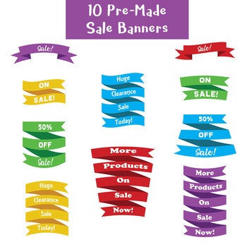 Banner Clip Art Mega Bundle (includes Editable Banners + Pre-made Sale Banners)