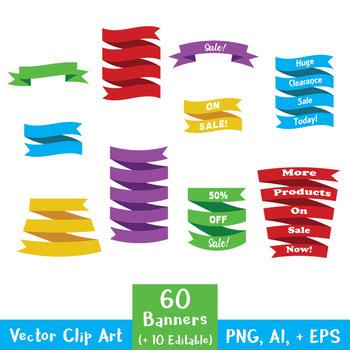 Banner Clip Art Mega Bundle (includes Editable Banners + P