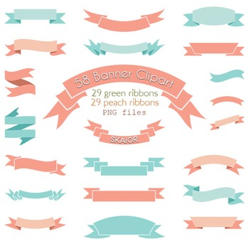 Banner Clipart Coral Turquoise Ribbon Clip Art