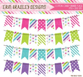 Banner Clipart - Digital Bunting Graphics Pink Blue Green Purple