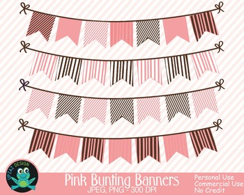 Pink Brown Bunting Banners {Upzaz Digital Clipart}