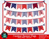 Patriotic Nautical Bunting Banners (Upzaz Digital Clipart)