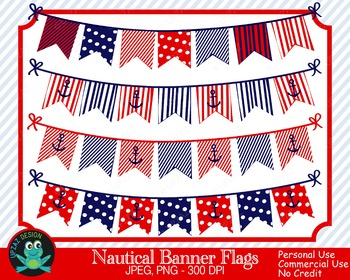 Patriotic Nautical Bunting Banners (Upzaz Digital Clipart)