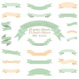 Banner Clipart Green Peach Ribbon Clip Art