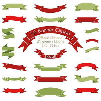 Banner Clipart Red Green Ribbon Clip Art