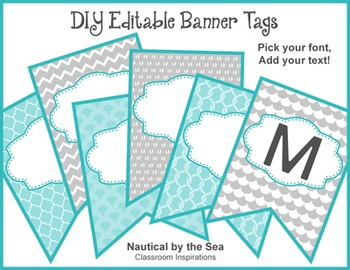 Banner – Editable – Coordinates with Nautical by the Sea Classroom Theme