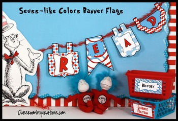 Banner (Editable) – Coordinates with Seuss-like Classroom Colors Theme