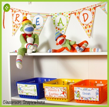 Banner – Editable – Coordinates with Sock Monkey Classroom Theme