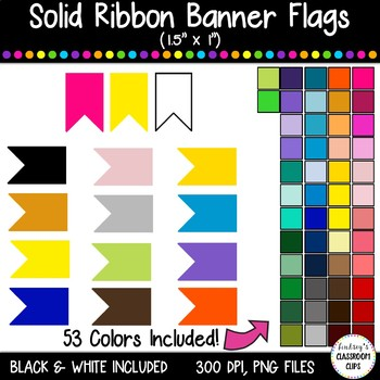 "Banner Flag Clipart Graphics / Ribbon Journal Flag Tabs - 1.5"" X 1"" - 52 Colors!"