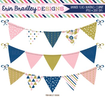 Banner Flag Clipart - Pink Blue Gold