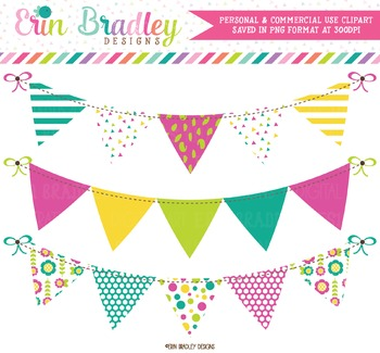 Banner Flag Clipart Set in Teal Magenta Yellow Green