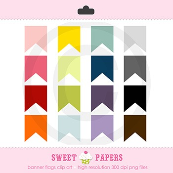 Banner Flag Digital Clip Art Set - by Sweet Papers