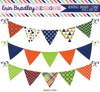 Banner Flags Clipart - Blue Orange Green