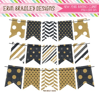 Banner Flags - New Years Bunting Clipart