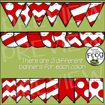 Banner Flags in Bold Colors Clip Art