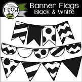 Banner Flags in Black and White Clip Art