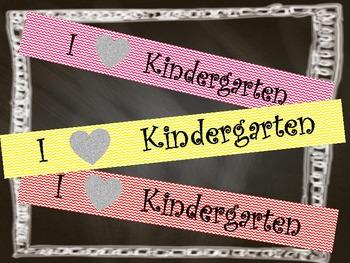 Chevron Banner I Heart Kindergarten