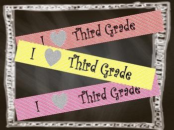 Chevron Banner I Heart Third Grade