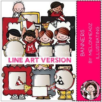 Banners  clip art - LINE ART- by Melonheadz