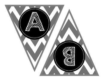 Banner Letters, Alphabet, Numbers {Gray Chevron}, Scribble Font